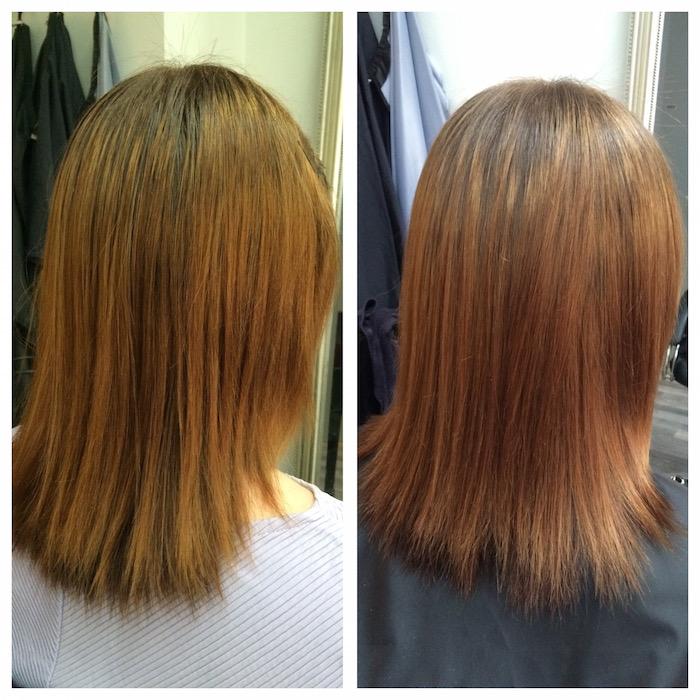 Ennen Olaplex-hoitoa (vas.) hiukset olivat tunkkaiset, päätä pitkin valuvat ja kellertävät. Hoidon jälkeen hiukset olivat ilmavat, keltaisuus oli vähentynyt huomattavasti ja hiukset tuntuivat pehmeiltä.