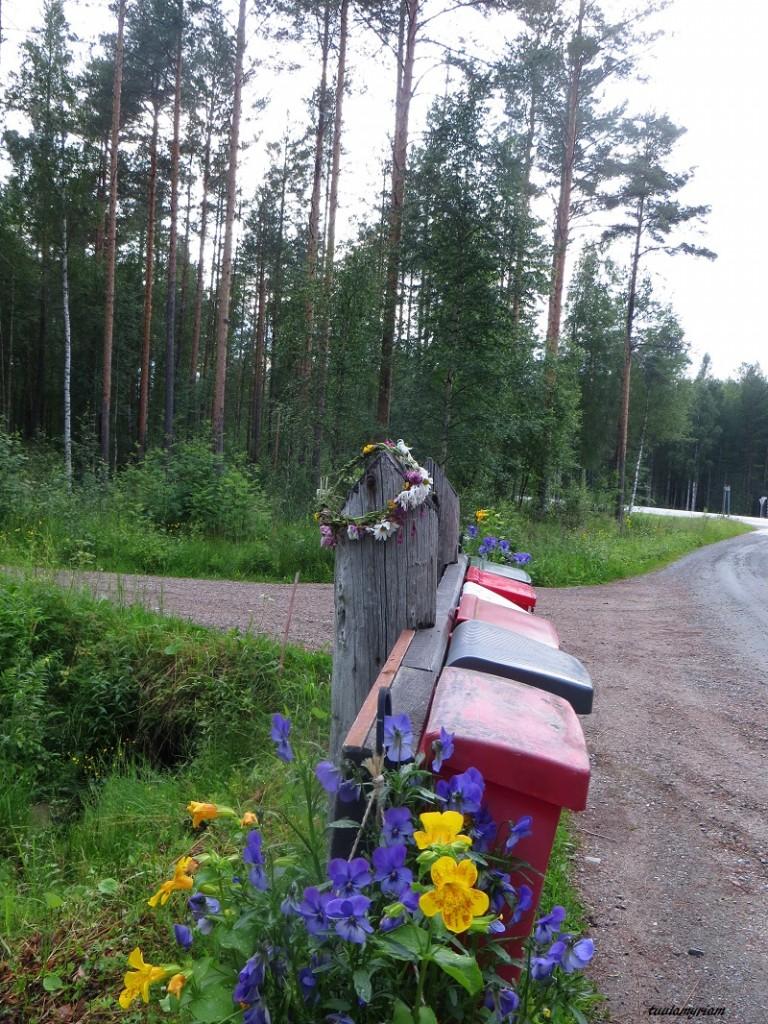 Naapureiden yhteispelistä kertovat kukat postilaatikoilla ja tällä kertaa yllätyksenä kukkaseppele.
