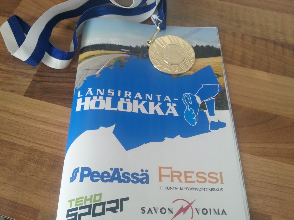 Elokuun 15. päivä kävin juoksemassa Länsiranta-Hölökässä 13,6 kilometriä. Aika 1.02,37.