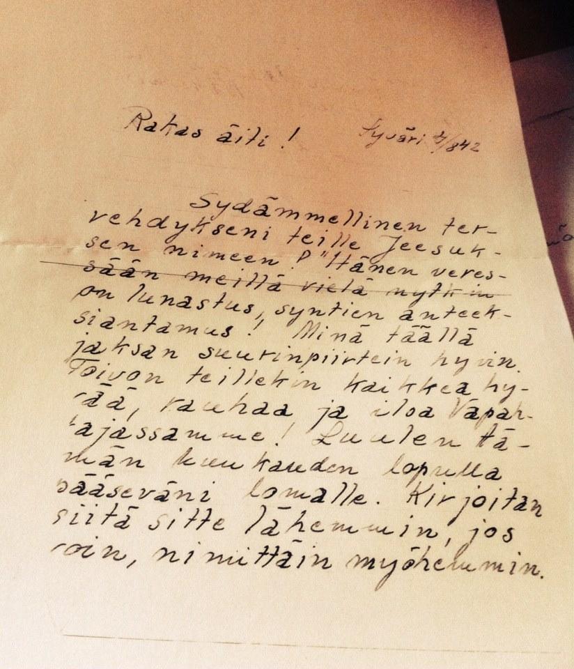 kirje äidille