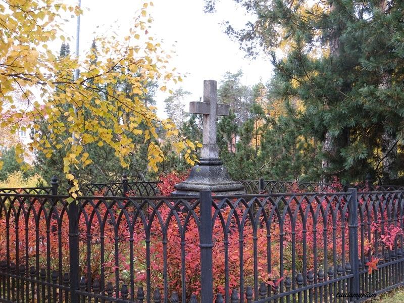 """Ollin puiston vanhat hautamuistomerkit ovat pysähdyttäviä: """"Här vilar min trogen hustru.."""" Ja kauniita."""