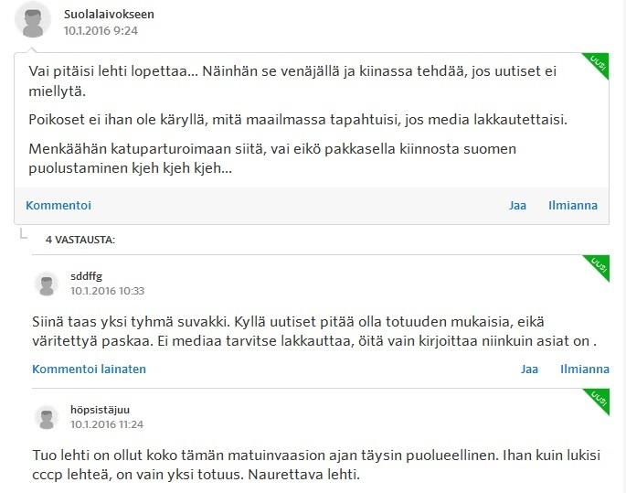 Internetin keskustelupalstat pursuavat vihapuhetta. Tämä Suomi24:n esimerkki on vielä kilteimmästä päästä.