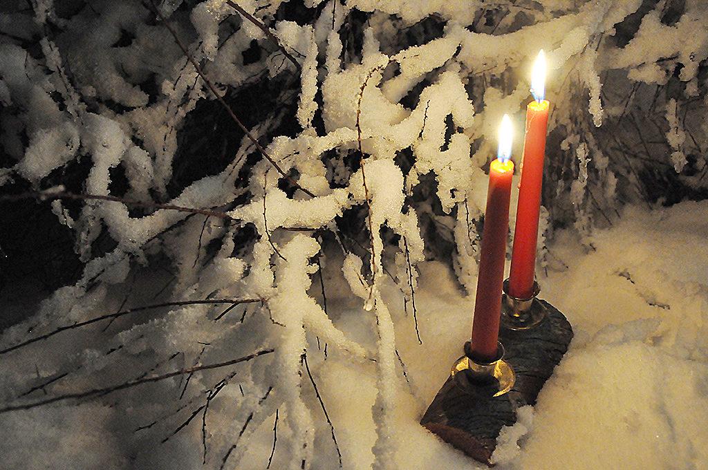 kynttilä valo lumi joulu)