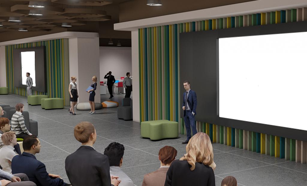 Virtuaalinen auditorio jossa ihmisiä istumassa.